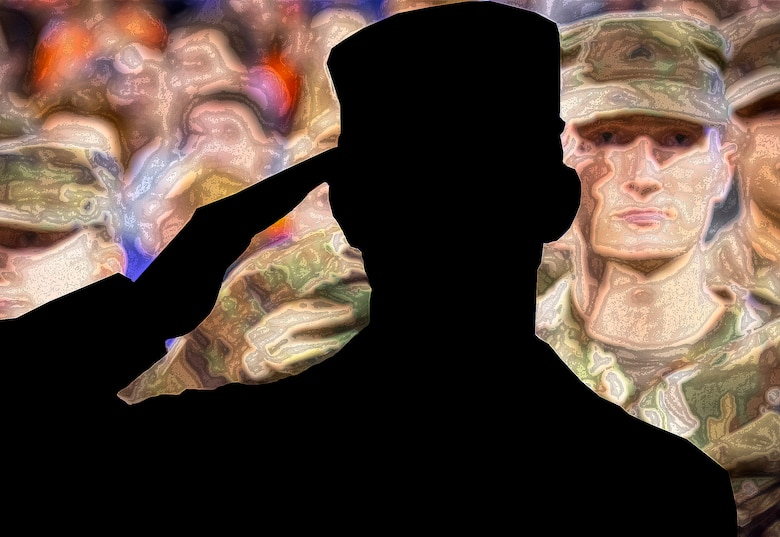 An illustration of a service member in silhouette saluting a group of fellow service members.
