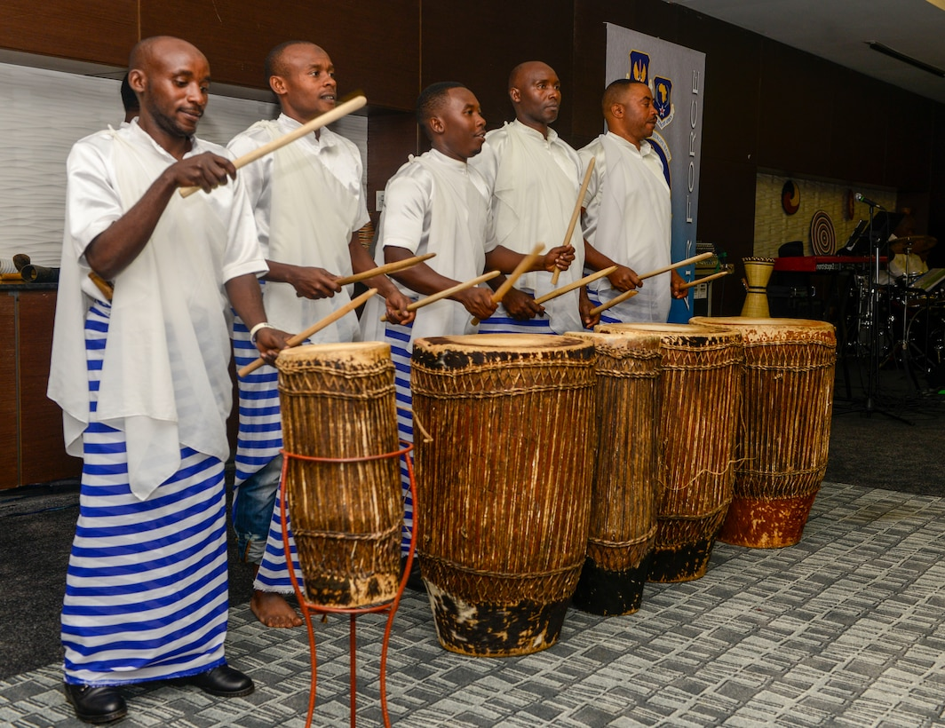 Rwandan artists with LEAF Community Arts play traditional Rwandan music during an African Partnership Flight Rwanda cultural dinner in Kigali, Rwanda, March 7, 2019. APF Rwanda focused on flight, ground, and weapons safety, but it also allowed it participants the opportunity to experience the cultures of the participating nations. (U.S. Air Force photo by Tech. Sgt. Timothy Moore)