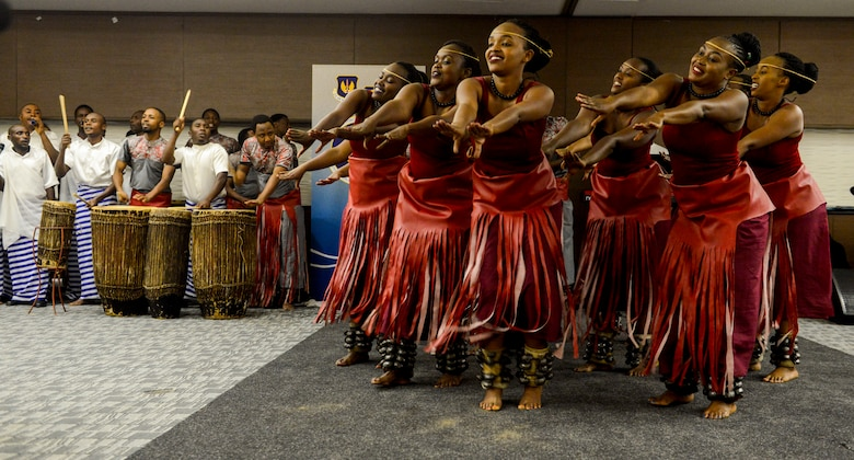 Rwandan artists with LEAF Community Arts perform a traditional Rwandan dance during an African Partnership Flight Rwanda cultural dinner in Kigali, Rwanda, March 7, 2019. APF Rwanda focused on flight, ground, and weapons safety, but it also allowed it participants the opportunity to experience the cultures of the participating nations. (U.S. Air Force photo by Tech. Sgt. Timothy Moore)