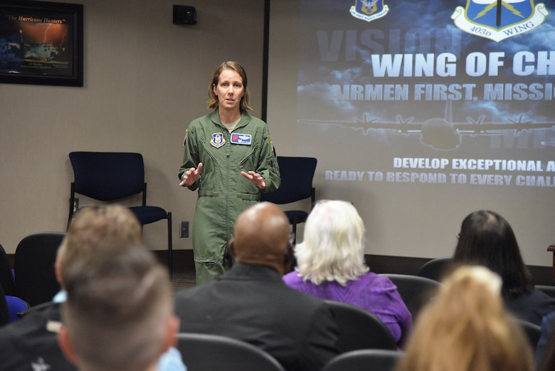 Col. Jennie R. Johnson, 403rd Wing commander, welcomes Keesler Air Force Base Honorary Commanders during a tour of the wing March 8, 2019. The 403rd Wing hosted the group and informed the local civic leaders about the Air Force Reserve and wing mission. (U.S. Air Force photo by Tech. Sgt. Michael Farrar)