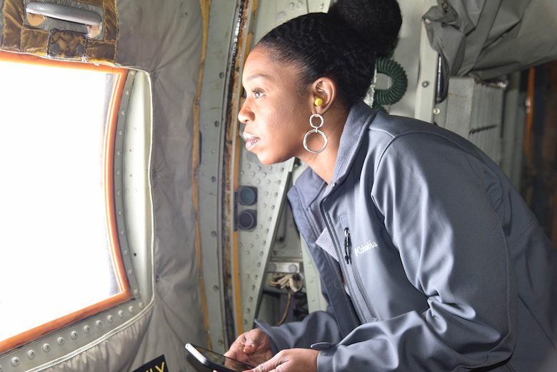 Tiffany Bell, Women's Resource Center Executive Director and 81st Training Wing Honorary Commander, flew on a training mission with the 53rd Weather Reconnaissance Squadron, also known as the Hurricane Hunters, March 8, 2019. Bell, along with her Keesler Honorary Commander counterparts, toured the 403rd Wing, an Air Force Reserve tenant unit on Keesler Air Force Base, Miss. (U.S. Air Force photo by Tech. Sgt. Michael Farrar)