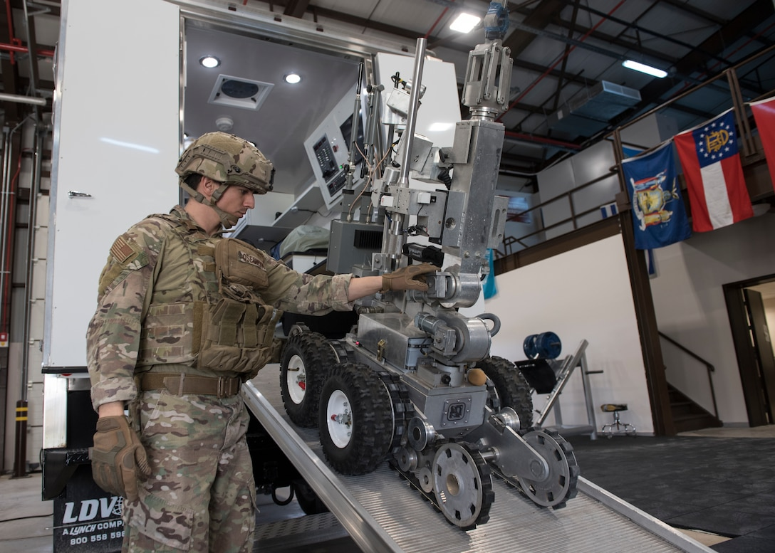 Staff Sgt. Kevin Oseguera, 39th Civil Engineer Squadron explosive ordnance disposal team leader, assists an EOD robot March 4, 2019, at Incirlik Air Base, Turkey.