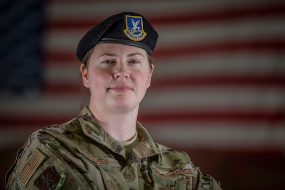 U.S. Air Force Master Sgt. Shannon Kinney stands for a portrait on Joint Base McGuire-Dix-Lakehurst, N.J., March 9, 2019. Kinney is a security forces specialist with the New Jersey Air National Guard's 108th Security Forces Squadron. (U.S. Air National Guard photo by Master Sgt. Matt Hecht)