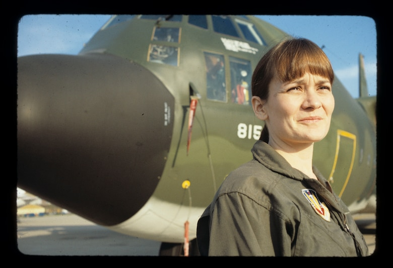 Remembering our past - Pictured here in 1979 is Linda Hall, the first female air crew member on an EC-130E aircraft for the 193rd Tactical Electronic Warfare Group. Hall joined the 193rd in December 1977 and retired in 1997.