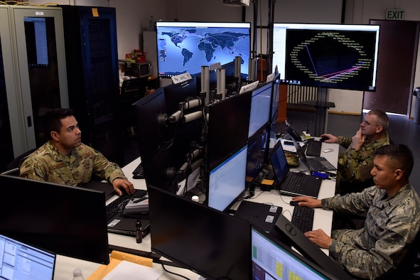 Airmen launch scenario injects for Tacet Venari to simulate real world cyber conditions.
