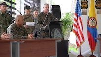 U.S. Southern Command's senior enlisted leader, Bryan K. Zickefoose, addresses the attendees of an opening ceremony for the Advance Joint Special Operations Forces NCO Course, held in Tolemaida, Colombia, March. 4, 2019.