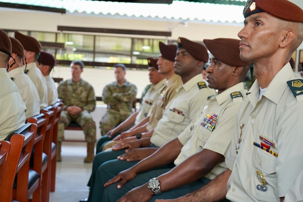 Colombian senior noncommissioned officers selected for training listen to guest speakers during the opening ceremony for the Advance Joint Special Operations Forces NCO Course, held in Tolemaida, Colombia, March. 4, 2019