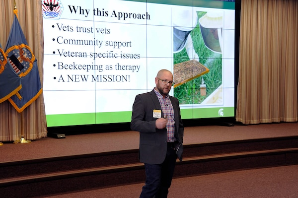 Adam Ingrao, from the Michigan State University Extension Office, describes the Heroes to Hives program.