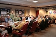 AMCOM Commander, Maj. Gen. Doug Gabram, and other AMCOM senior leaders meet with senior leaders from the Naval Air Systems Command and Maj. Gen. Tim Gowan, Deputy Commanding General for Army Futures Command regarding AMCOM's best practices for Aviation sustainment