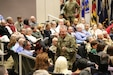 Maj. Gen. Douglas M. Gabram, commanding general, U.S. Army Aviation and Missile Command, addresses the AMCOM work force during a Town Hall at the Bob Jones Auditorium, Nov. 26.