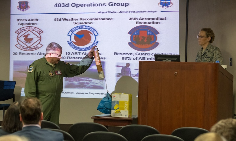 U.S. Air Force Col. Robert Stanton, 403rd Wing vice commander, holds a dropsonde during a mission brief for Keesler honorary commanders during the 403rd Wing Honorary Commanders Tour at the 53rd Weather Reconnaissance Squadron at Keesler Air Force Base, Mississippi, March 08, 2019. The tour was intended to familiarize honorary commanders with the 403rd Wing and the Air Force Reserve mission and capabilities. The event also included an incentive flight on a WC-130J Hercules. (U.S. Air Force Photo by Andre' Askew)
