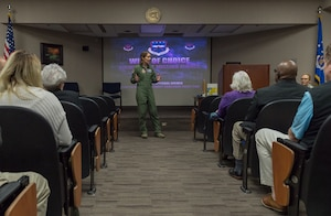 U.S. Air Force Col. Jennie Johnson, 403d Wing commander, provides opening remarks to Keesler honorary commanders during the 403rd Wing Honorary Commanders Tour at the 53rd Weather Reconnaissance Squadron at Keesler Air Force Base, Mississippi, March 08, 2019. The tour was intended to familiarize honorary commanders with the 403rd Wing and the Air Force Reserve mission and capabilities. The event also included an incentive flight on a WC-130J Hercules. (U.S. Air Force Photo by Andre' Askew)