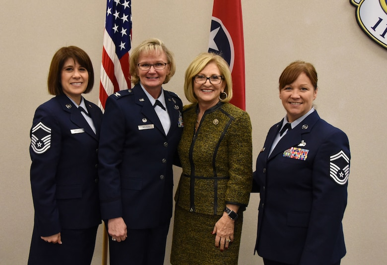 Former U.S. Rep. Diane Black, center, poses with senior female leaders in the 118th Wing March 9, 2019 at Berry Field Air National Guard Base, Nashville, Tennessee.