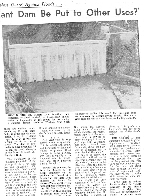 The Mount Morris Dam is situated deep in the Genesee River gorge near the northern end of Letchworth State Park in Livingston County, NY, and Miles J. Freeman was its Chief Operator from its construction in 1952 until his retirement in 1980. Without his decades of expertise and care, the destructive power of Mother Nature would have wreaked havoc on the lives of countless Genesee Valley residents.