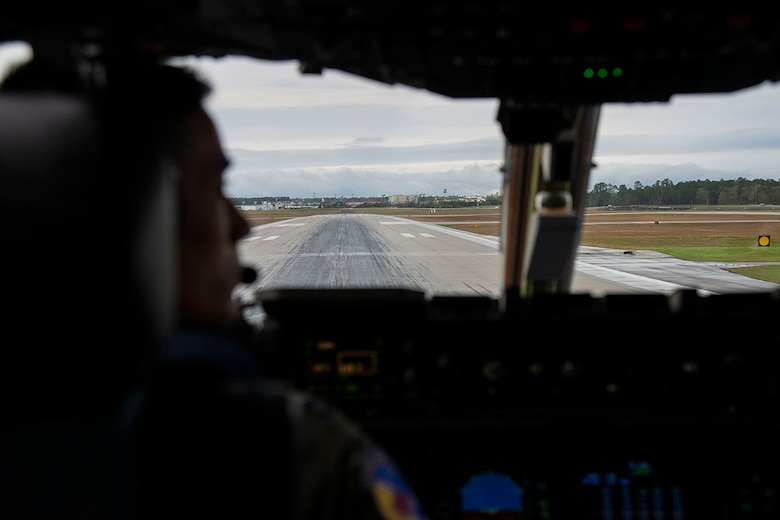 A C-17 Globemaster III from the 3rd Airlift Squadron at Dover Air Force Base, Del., taxies on the runway prior to takeoff as part of Exercise Jersey Devil 19 March 3, 2019. Jersey Devil is the largest joint base mobility exercise since 2009 with six units including both active duty and reserve Airmen. (U.S. Air Force photo by Airman 1st Class Zoe M. Wockenfuss)