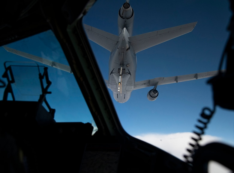 A KC-10 Extender with the 305th Air Mobility Wing from Joint Base McGuire-Dix-Lakehurst, N.J., prepares to refuel a C-17 Globemaster III during Exercise Jersey Devil 19, March 4, 2019. Aircraft from Dover Air Force Base, Del., and Joint Base MDL participated in the exercise to include the C-5M Supergalaxy, KC-10 Extender and C-17 Globemaster III. (U.S. Air Force photo by Airman 1st Class Zoe M. Wockenfuss)