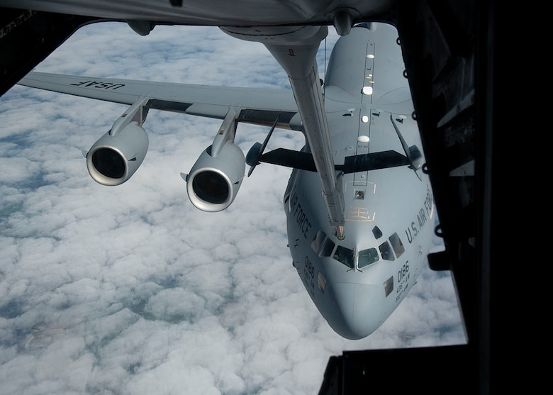 A C-17 Globemaster III from the 436th Airlift Squadron, Dover Air Force Base, Del., prepares to receive fuel from a KC-10 Extender from the 305th Air Mobility Wing, Joint Base McGuire-Dix-Lakehurst, N.J., March 7, 2019, during Exercise Jersey Devil 19. Aircraft from Dover AFB and Joint Base MDL participated in the exercise to include the C-5M Supergalaxy, KC-10 Extender and C-17 Globemaster III. (U.S. Air Force photo by Airman 1st Class Zoe M. Wockenfuss)