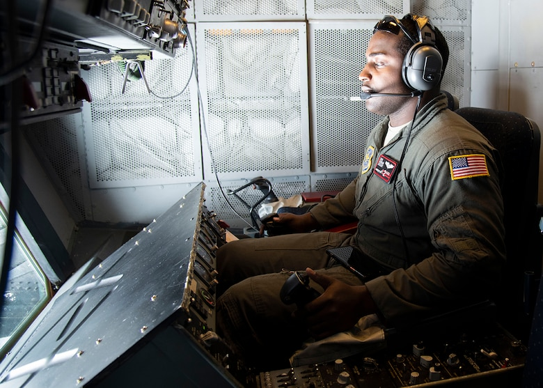 Senior Airman Dorian Cozart, boom operator with the 2nd Air Refueling Squadron, operates the boom on a KC-10 Extender March 7, 2019, during Exercise Jersey Devil 19. Jersey Devil was aimed at preparing Airmen to respond to complex threats anywhere, anytime. (U.S. Air Force photo by Airman 1st Class Zoe M. Wockenfuss)