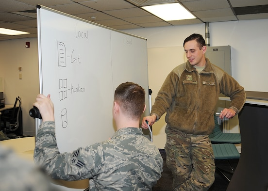 U.S. Air Force Airmen with the 595th Strategic Communications Squadron, Air Force Global Strike Command, discuss ways ahead for conducting Rapid DevOps at the squadron level under the Soaring Buffalo program at Offutt Air Force Base, Nebraska, Jan. 25, 2019. Soaring Buffalo is part of the Air Force's innovation ecosystem and makes up Offutt's first Spark Hub construct – a decentralized network of Air Force bases around the world designed to execute locally generated ideas and projects. (U.S. Air Force courtesy photo)