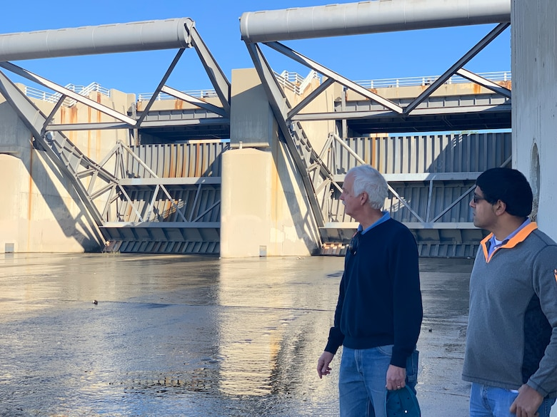 U.S. Army Corps of Engineers Los Angeles District Whittier Narrows Dam Lead Project Engineer Doug Chitwood and Whittier Narrows Dam Project Manager George Sunny conduct a site visit and inspect spillway gates at Whittier Narrows Dam in Pico Rivera, California, on Jan. 7.