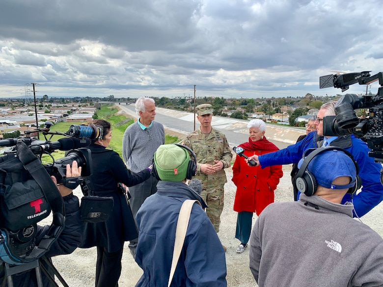 U.S. Army Corps of Engineers Los Angeles District Commander Col. Aaron Barta conducted a media engagement with local news organizations about the Whittier Narrows Dam Safety Modification Study on Feb. 20. The modification study highlights the key recommendations for modifying the dam, courses of action and different potential flood scenarios.