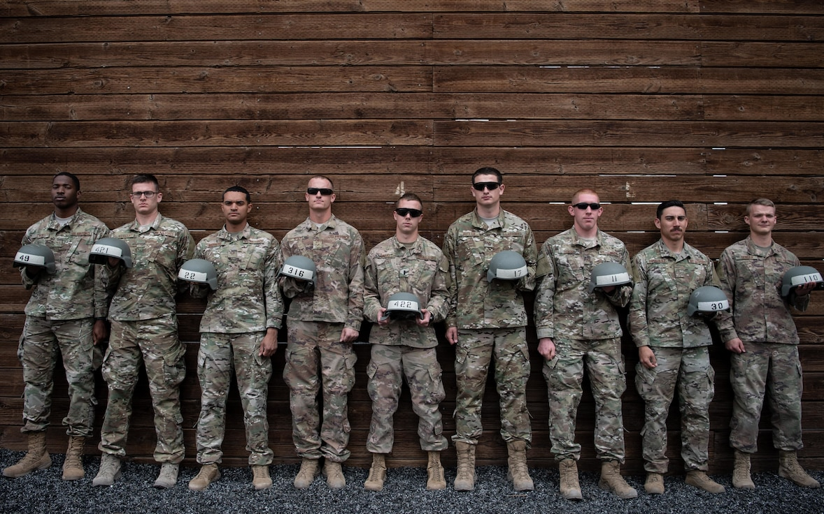 377th Security Forces Group Airmen pose for a group photo at Fort Bliss, TEXAS., March 8, 2019. Nine members of the 377th SFG graduated from the Fort Bliss Air Assault Training School March 11. (U.S. Air Force photo by Staff Sgt. J.D. Strong II)