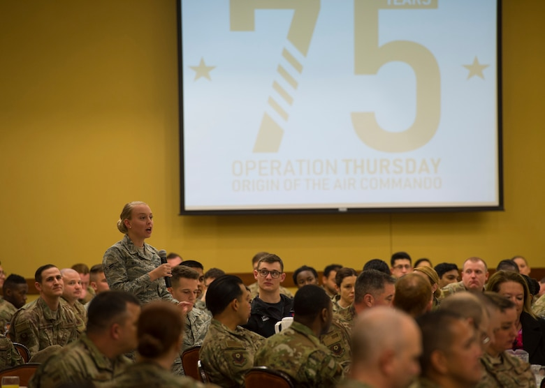 Airman ask questionl/75th anniversary logo in background