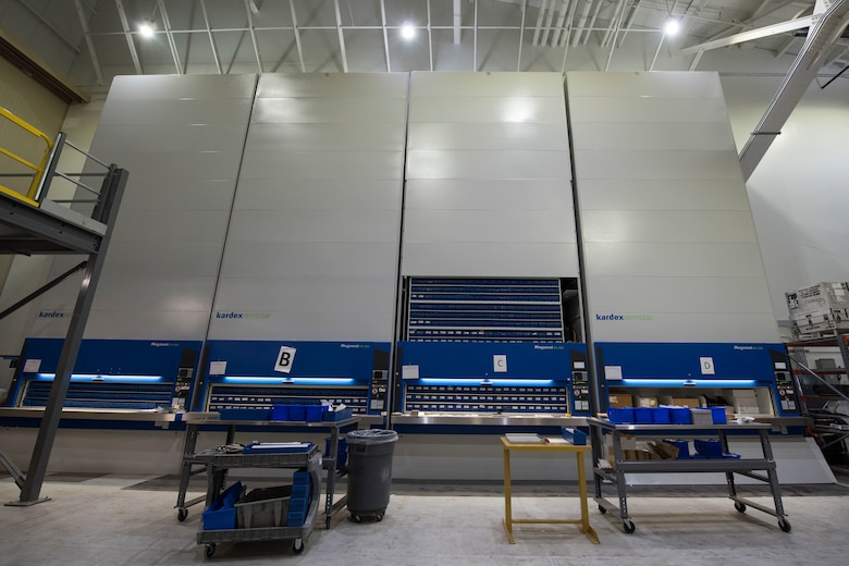 A newly constructed three-story vertical mechanized parts storage system is installed in the newly remodeled 24/7 aircraft parts store March 8, 2019, at Joint Base Elmendorf-Richardson, Alaska. In one of the newest total force integration associations of its kind, the 673d LRS Materiel Management flight is conducting a complete C-17 aircraft supply turnover to the 176th LRS. A remodel of both a warehouse and a newly renovated 24/7 aircraft parts store was conducted to take on the massive amount of inventory.