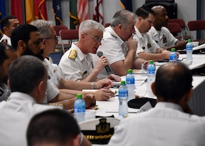 NAVAL SUPPORT ACTIVITY BAHRAIN (March 7, 2019) Vice Adm. Jim Malloy, commander, U.S. Naval Forces Central Command, U.S. 5th Fleet, Combined Maritime Forces (CMF), gives opening remarks at the CMF Maritime Security Conference onboard Naval Support Activity Bahrain. The conference brought together senior military leaders from more than 30 nations to discuss maritime strategy, counter-piracy and emerging threats in the U.S. 5th Fleet area of operations. (U.S. Navy photo by Mass Communication Specialist 1st Class Bryan Neal Blair/Released)