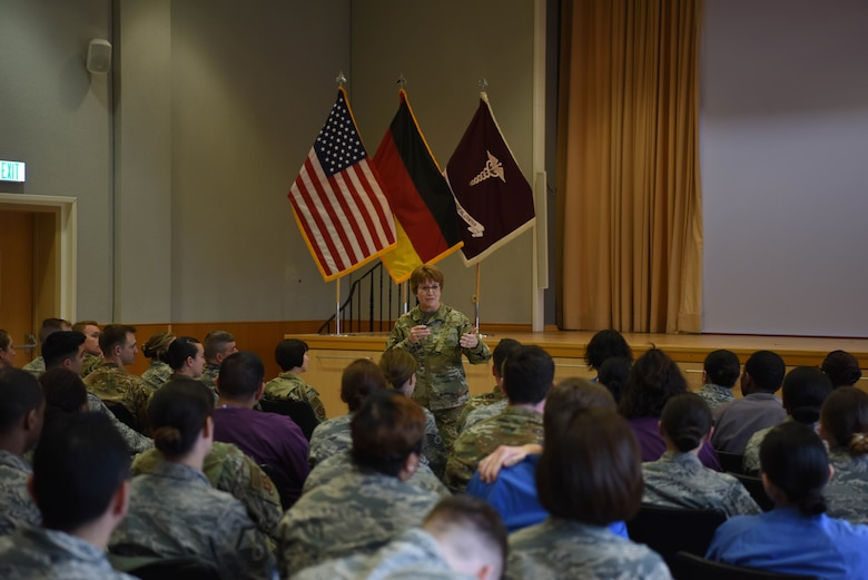 U.S. Air Force Lt. Gen. Dorothy Hogg, Air Force surgeon general, speaks at an all-call to members of the 86th Medical Group at Landstuhl Regional Medical Center, Germany, March, 4, 2019. At the all-call Hogg spoke about upcoming innovations that would help the 86th MDG be more resilient and effective.
