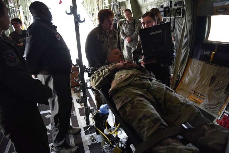 U.S. Air Force Chief Master Sgt. G. Steve Cum, chief medical enlisted force and enlisted corps chief, pretends to be a patient for the 86th Aeromedical Evacuation Squadron during a demonstration on Ramstein Air Base, Germany, March, 5, 2019. The 86th AES supports the global Combatant Command operations and initiatives by providing full spectrum 24/7, aeromedical evacuation capabilities year-round.