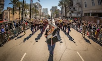 Marines with 2nd Marine Division Band perform during a Mardi Gras parade, New Orleans, March 5, 2019.