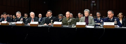Secretary of the Air Force Heather Wilson provides testimony to the Senate Armed Services Committee in Washington, D.C., March 7, 2019. The committee examined privatized military housing for service members and their families.