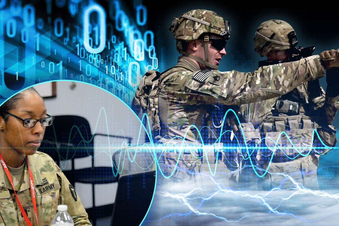 Cyber sine waves and soldier background
