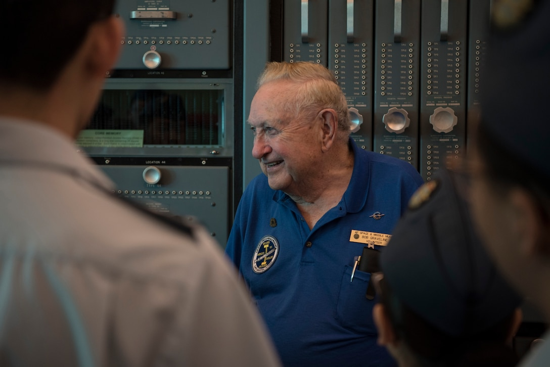 Bob Graveline, Air Force Space and Missile Museum volunteer, educates Royal Canadian Air Cadets from Toronto, Canada, about previous U.S. space missions during their tour of Cape Canaveral Air Force Station, Fla on March 11, 2019.
