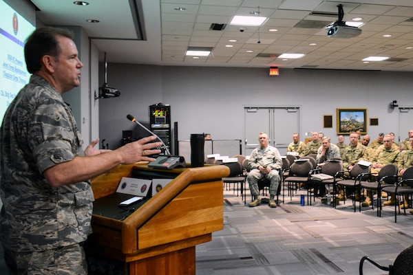 Air Force Brig. Gen. Steven Chisolm, a chaplain and director of the Office of the Joint Chaplain at the National Guard Bureau, addresses chaplains and chaplain's assistants from throughout the National Guard during a conference at the Herbert R. Temple Jr. Army National Guard Readiness Center Arlington Hall Station in Arlington, Virginia. During the 2018 conference, chaplains focused on ways to build greater resiliency in Guard members, suicide prevention measures and ways chaplains can build support among each other.