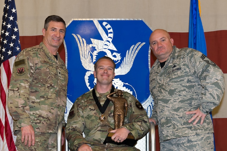 Staff Sgt. Daniel Kealy, 23d Aircraft Maintenance Squadron, wins Chief Master Sgt. Thomas N. Barnes Crew Chief of the Year, March 8, 2019, at Moody Air Force Base, Ga. Maintenance Professional of the Year (MPOY) is a long-running tradition in the maintenance career field. MPOY is a ceremony that highlights that year's top performing Airmen. (U.S. Air Force photo by Airman 1st Class Hayden Legg)