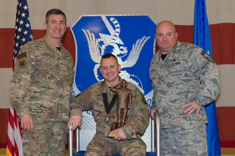 Master Sgt. Christopher West, 23d Aircraft Maintenance Squadron, wins the Lt. Gen. Leo Marquez Award, March 8, 2019, at Moody Air Force Base, Ga. West won this award for the NCO in Munitions and Missile category. Maintenance Professional of the Year (MPOY) is a long-running tradition in the maintenance career field. MPOY is a ceremony that highlights that year's top performing Airmen. (U.S. Air Force photo by Airman 1st Class Hayden Legg)