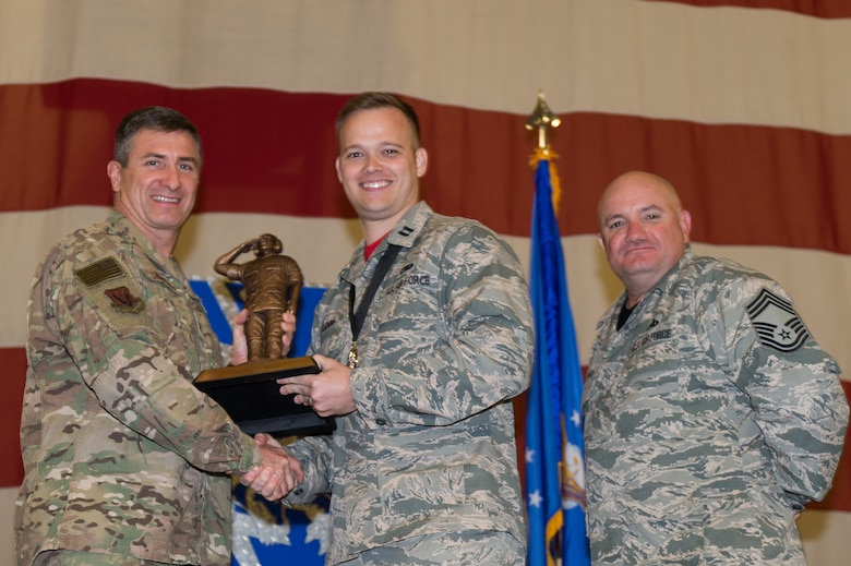 Capt. Brett Gudim, 23d Aircraft Maintenance Squadron, wins the Lt. Gen. Leo Marquez Award, March 8, 2019, at Moody Air Force Base, Ga. Gudim won this award for the Officer in Aircraft Maintenance category. Maintenance Professional of the Year (MPOY) is a long-running tradition in the maintenance career field. MPOY is a ceremony that highlights that year's top performing Airmen. (U.S. Air Force photo by Airman 1st Class Hayden Legg)