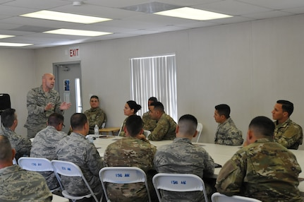 Col. Kenneth Lozano, Director of Diversity and Inclusion Air National Guard coaches members of the 156th Airlift Wing at Muniz Air National Guard Base, Puerto Rico.