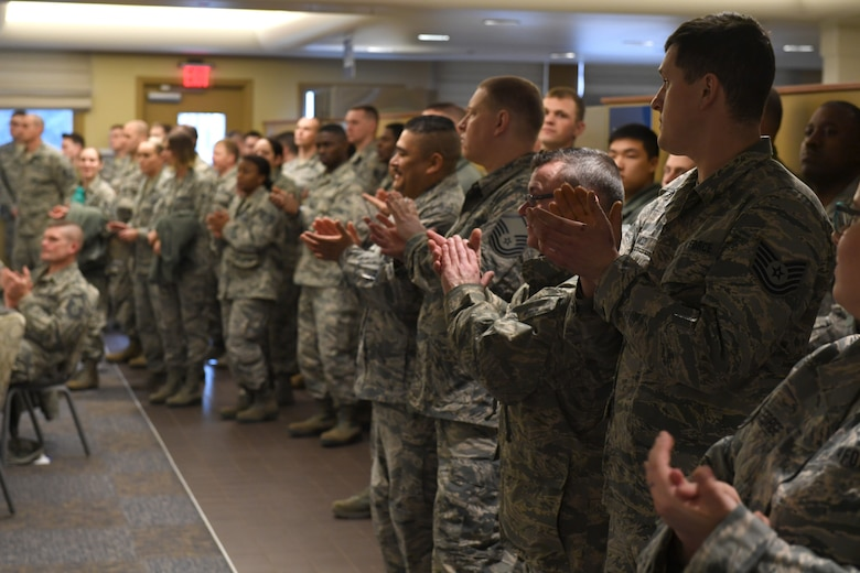 Airmen gather to formally recognize their peers at the 2019 911th Airlift Wing Awards Ceremony at the Pittsburgh International Airport Air Reserve Station, Pennsylvania, March 2, 2019. This ceremony recognized Airmen who were awarded of-the-year titles, as well as the recipient of the Command Chief Fahrny Diamond Sharp Award. (U.S. Air Force photo by Senior Airman James Fritz)