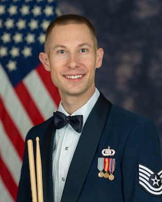 Official Photo of Gabriel Staznik, drummer in Max Impact, The United States Air Force Band