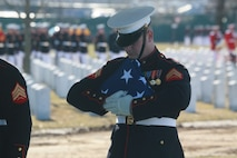 A Marine Body Bearer, Bravo Company, Marine Barracks Washington D.C., holds the National Flag during a full honors funeral for Lt. Gen. Leo Dulacki at Arlington National Cemetery, Arlington, Virginia, March 13, 2019.