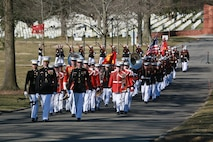 Marines with Marine Barracks Washington D.C. march in formation during a full honors funeral for Lt. Gen. Leo Dulacki at Arlington National Cemetery, Arlington, Virginia, March 13, 2019.