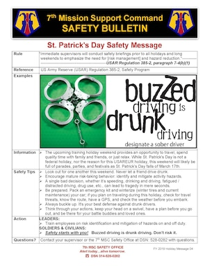 St. Patrick's Day Safety Message