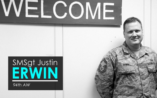 This week's Up Close features Senior Master Sgt. Justin Erwin, 94th Airlift Wing religious affairs superintendent. Up Close is a series spotlighting individuals around Dobbins Air Reserve Base. (U.S. Air Force graphic/Staff Sgt. Andrew Park; photo/Senior Airman Justin Clayvon)