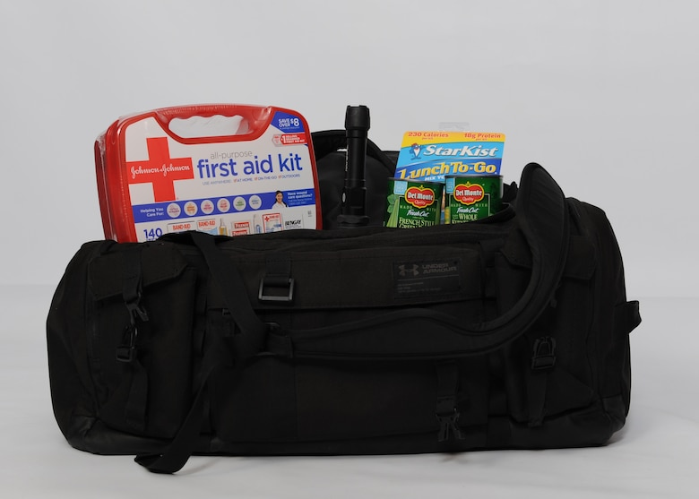 A duffel bag containing emergency supplies is displayed March 13, 2019, at Incirlik Air Base, Turkey.