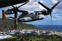 U.S. Air Force A-10 Thunderbolt II aircraft assigned to the 442nd Fighter Wing, Whiteman Air Force Base, Missouri, escort MV-22B Osprey aircraft assigned to Marine Medium Tiltrotor Squadron 268 over Hawaii, Feb. 26, 2019. U.S. Marines with Weapons Company, 2nd Battalion, 3rd Marine Regiment and VMM-268 along with A-10 Thunderbolt II aircraft conducted training including a simulated tactical recovery of aircraft personnel scenario and a combat search and rescue scenario.