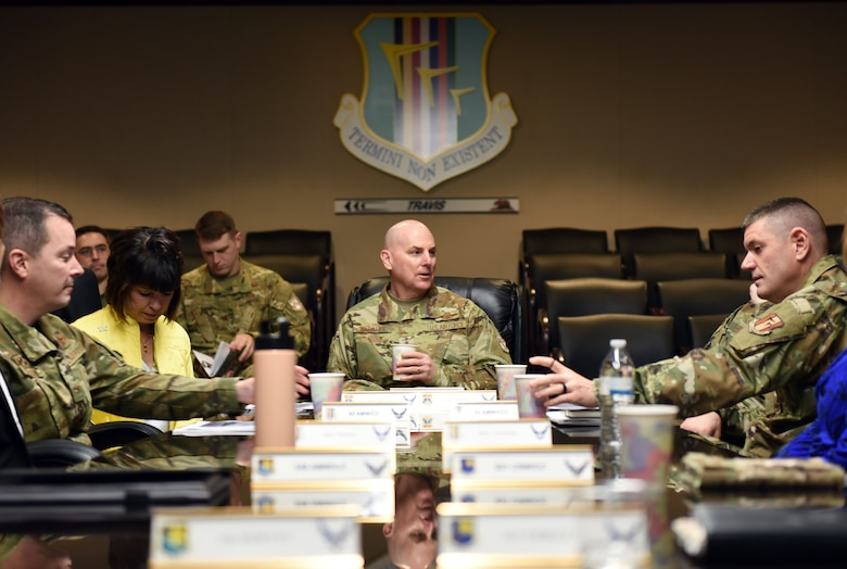 U.S. Air Force Maj. Gen. Sam Barrett, 18th Air Force commander, meets with leadership members of Travis Air Force Base, California, during a visit to the base March 5, 2019. Barrett, along with his wife, Kelly and U.S. Air Force Chief Master Sgt. Chris Simpson, 18th Air Force command chief, toured the base March 4 to 8 as part of a scheduled visit. (U.S. Air Force photo by Airman 1st Class Christian Conrad)