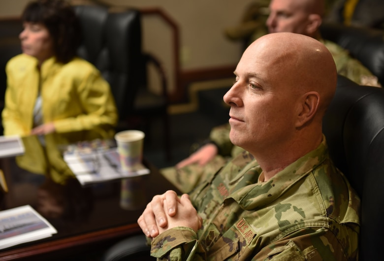 U.S. Air Force Chief Master Sgt. Chris Simpson, 18th Air Force command chief, meets with leadership members of Travis Air Force Base, California, during a visit to the base March 5, 2019. Simpson, along with U.S. Air Force Maj. Gen. Sam Barrett, 18th Air Force commander, and his wife, Kelly, toured the base March 4 to 8 as part of a scheduled visit. (U.S. Air Force photo by Airman 1st Class Christian Conrad)